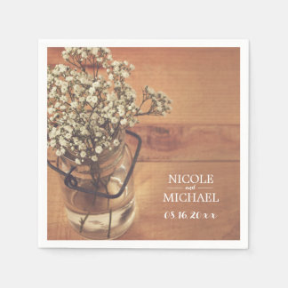 Rustic Baby's Breath Mason Jar Wood Wedding Disposable Napkin