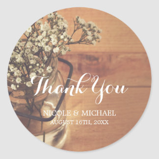 Rustic Baby's Breath Mason Jar Wood Wedding Round Sticker
