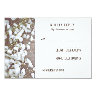 Rustic Baby's Breath Wedding RSVP Cards 9 Cm X 13 Cm Invitation Card