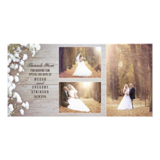 Rustic Baby's Breath Wood Wedding Photo Thank You Card