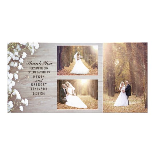 Rustic Baby's Breath Wood Wedding Photo Thank You
