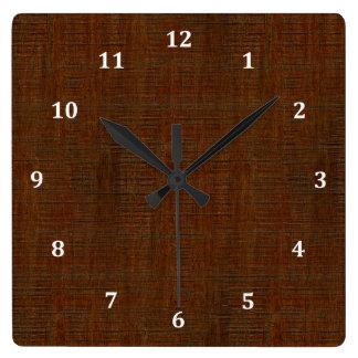 Rustic Bamboo Wood Grain Texture Look Square Wall Clock