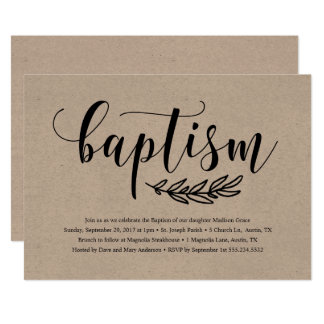 Rustic Baptism Invitation