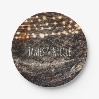 Rustic Bark Wood & Sparkle Lights Fall Party 7 Inch Paper Plate