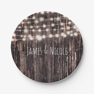 Rustic Bark Wood & String Lights Fall Party 7 Inch Paper Plate