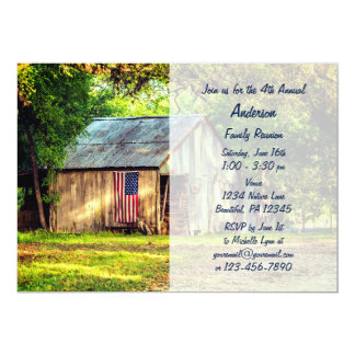 Rustic Barn American Flag Family Reunion Invite