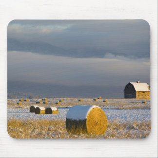 Rustic barn and hay bales after a fresh snow 3 mouse pad