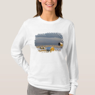 Rustic barn and hay bales after a fresh snow 3 T-Shirt