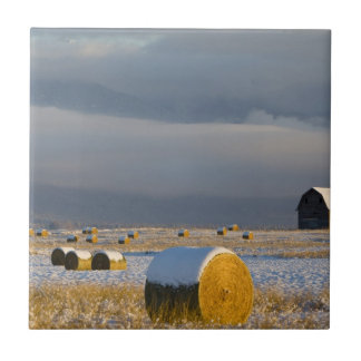 Rustic barn and hay bales after a fresh snow 3 tile