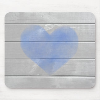 Rustic Barn Hardwood Blue Heart Mouse Pad
