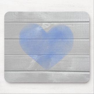 Rustic Barn Hardwood Blue Heart Mouse Pad