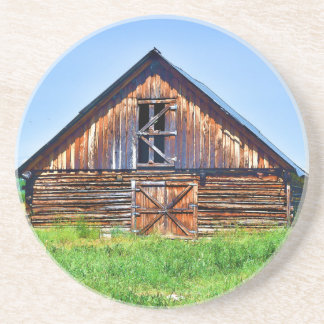 Rustic Barn on Cattle Ranch Art Coaster