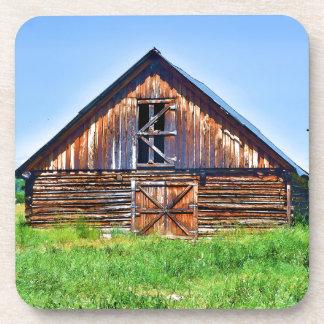 Rustic Barn on Cattle Ranch Art Coaster