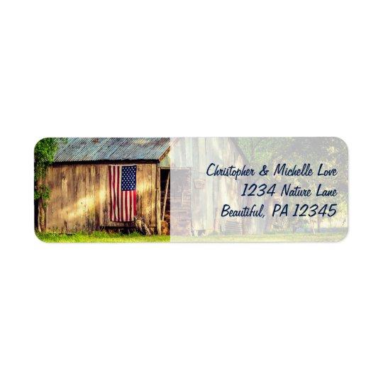 Rustic Barn Patriotic American Flag Address