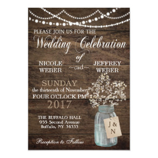 Rustic Barn Wedding Wood Mason Jar Babys Breath Card