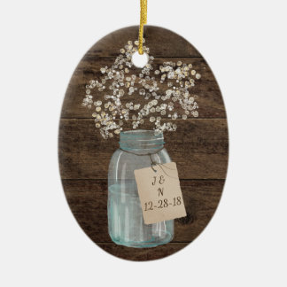 Rustic Barn Wedding Wood Mason Jar Babys Breath Ceramic Oval Decoration