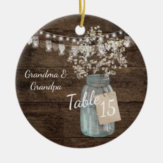 Rustic Barn Wedding Wood Mason Jar Babys Breath Christmas Ornament