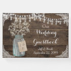 Rustic Barn Wedding Wood Mason Jar Babys Breath Guest Book