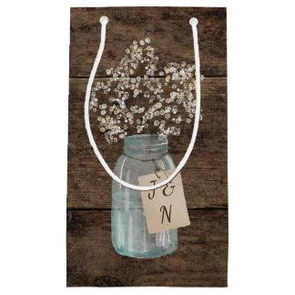 Rustic Barn Wedding Wood Mason Jar Babys Breath Small Gift Bag