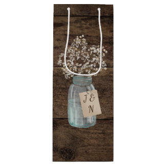 Rustic Barn Wedding Wood Mason Jar Babys Breath Wine Gift Bag