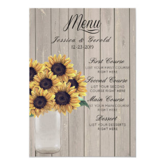 Rustic Barn Wedding Wood Mason Jar Sunflowers Card