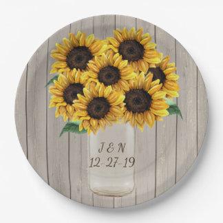 Rustic Barn Wedding Wood Mason Jar Sunflowers Paper Plate