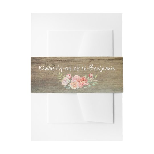 Rustic Barn Wood and Blush Watercolor Flowers Invitation