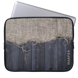 Rustic Barn Wood and Burlap Pattern with Name Laptop Computer Sleeves