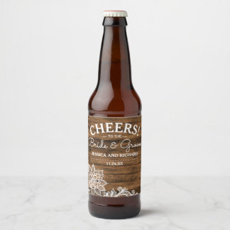 Rustic Barn Wood and Lace | Personalized Wedding Beer Bottle Label