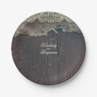Rustic Barn Wood and Shabby Burlap Lace Old 7 Inch Paper Plate