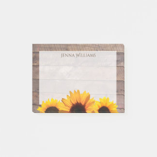 Rustic Barn Wood and Sunflowers Personalized Post-it Notes