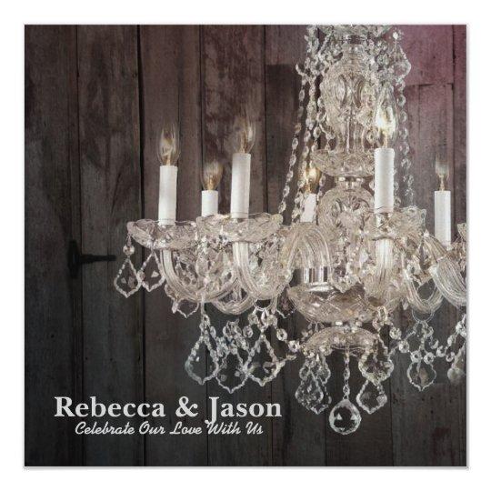 Rustic barn wood chandelier wedding card