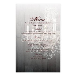 Rustic barn wood chandelier wedding customised stationery