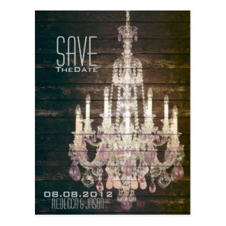 Rustic Barn Wood Chandelier wedding save the date Postcard