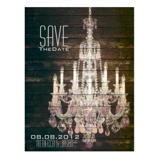 Rustic Barn Wood Chandelier wedding save the date