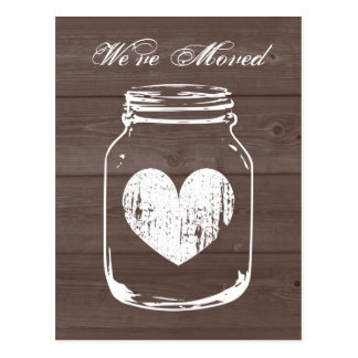 Rustic barn wood change of address moving postcard