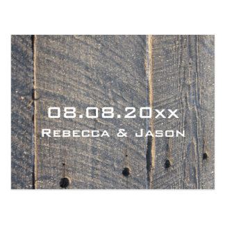 rustic barn wood country wedding save the date postcard