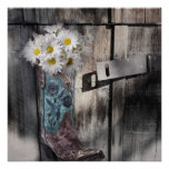 rustic barn wood cowboy boots western country poster