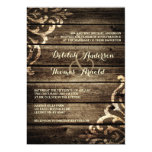 Rustic Barn Wood Damask Vintage Wedding Invitation