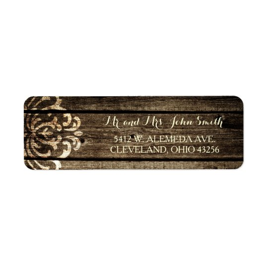 Rustic Barn Wood Damask Vintage Wedding Labels