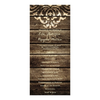 Rustic Barn Wood Damask Vintage Wedding Program Rack Card