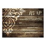 Rustic Barn Wood Damask Vintage Wedding RSVP Card 9 Cm X 13 Cm Invitation Card