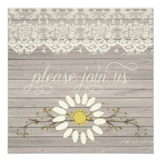 Rustic Barn Wood Lace Floral Post Wedding Card