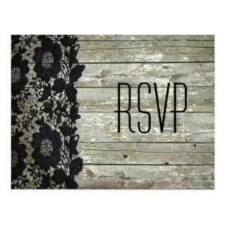 rustic barn wood  lace modern country wedding RSVP Postcard