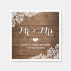 Rustic Barn Wood Lace Mr. and Mrs. Wedding Disposable Napkin