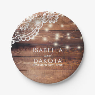 Rustic Barn Wood Lace & String Lights Wedding 7 Inch Paper Plate