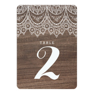 Rustic Barn Wood Lace Table Number Card