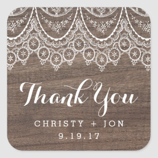 Rustic Barn Wood Lace Thank You Sticker