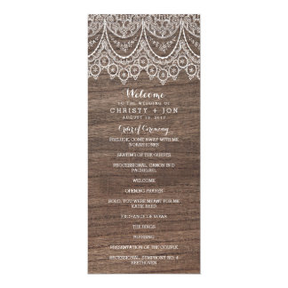 Rustic Barn Wood Lace Wedding Ceremony Program