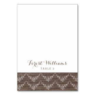 Rustic Barn Wood Lace Wedding Escort Placecard Table Cards